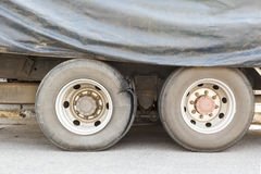Burst tire truck Stock Photo