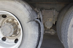 Burst tire truck Stock Photography