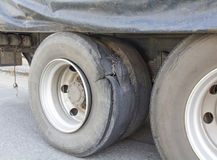 Burst tire truck. On the road Royalty Free Stock Image