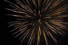 Burst of Yellow and White Firecracker in Night Sky Stock Photos