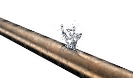 Bursted copper pipe with water leaking out Royalty Free Stock Images