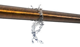 Bursted kopparrör med vatten som ut läcker stock illustrationer