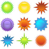 bursters starburst αυτοκόλλητες ετικέ& Στοκ Εικόνα