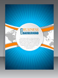 Bursting brochure with orange wave and map. Bursting brochure design with orange wave and world map in background Royalty Free Stock Images