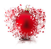 Bursting Christmas ball isolated on the white background Royalty Free Stock Images