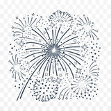 Bursting fireworks  black and white. Bursting fireworks with tinsel, streamers and sparkles. Salute with ribbons and stars. Vector illustration black and white Stock Photos