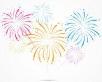 Bursting fireworks with stars and sparks vector illustration