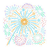 Bursting fireworks  and stars. Bursting fireworks with tinsel, streamers and sparkles. Salute with ribbons and stars. Vector illustration Royalty Free Stock Images