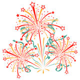 Bursting fireworks with tinsel, streamers and Royalty Free Stock Photo