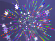 Bursting flying stars illustration Royalty Free Stock Photos