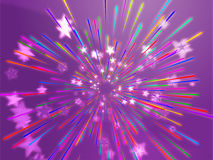 Bursting flying stars illustration Stock Images