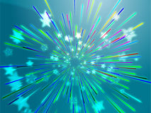 Bursting flying stars illustration Stock Image