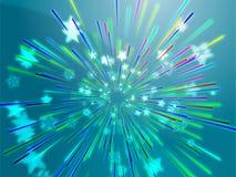 Bursting flying stars illustration Stock Image