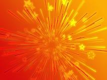 Bursting flying stars illustration Stock Photography