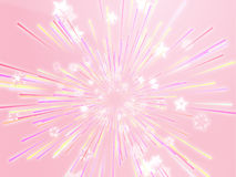Bursting flying stars illustration Stock Photography