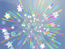 Bursting flying stars illustration Stock Photo