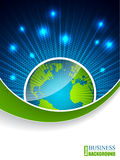 Bursting globe brochure with green stripe Royalty Free Stock Images