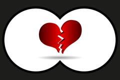 Bursting heart vector. Binoculars view, bursting heart vector, broken heart Royalty Free Stock Photo