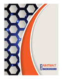 Bursting hexagon brochure with orange wave Royalty Free Stock Photos