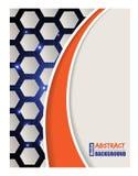 Bursting hexagon brochure with orange wave. Bursting hexagon brochure design with orange wave Royalty Free Stock Photos