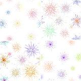 Bursting rays seamless pattern set. Fireworks explosion stock illustration