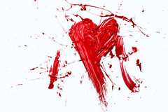 Bursting red color painted heart Stock Images