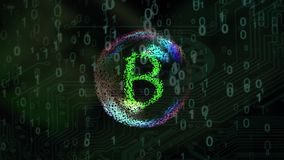 Bursting soap bubble with bitcoin coins sign stock video footage