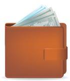 Bursting wallet. Vector illustration of a bursting wallet with generic money design royalty free illustration