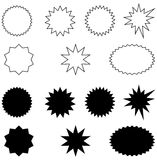 Bursts-black and white. Set of solid and outline bursts Royalty Free Stock Image