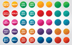Business Labels and Bursts. Colorful bursts with typography for business use and plain colored bursts to be used as desired Royalty Free Stock Photos