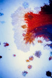 Bursts of multicolored paint. S and mixed together white paper. Drawn splashes of paints of different colors on white surface. Blue, yellow, red, green color Royalty Free Stock Photos