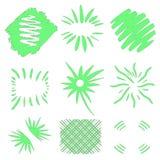 Bursts vector. Hand drawn sun bursts on white background. Neon green geometric shapes. Big collection set. Grunge art royalty free illustration