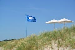 BURSZTYN, ROSJA Międzynarodowy znak plaży Błękitna flaga ustawia na Bałtyckim wybrzeżu Kaliningrad region Zdjęcia Stock