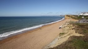 Burton Bradstock beach West Dorset England uk pan view stock footage