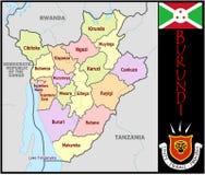 Burundi Administrative divisions. Burundi map flag and coat Royalty Free Stock Photos
