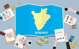 Burundi Africa gospodarki kraju narodu wzrostowa drużyna dyskutuje z fałd map widokiem od wierzchołka Obraz Stock