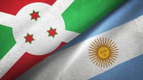 Burundi and Argentina two flags textile cloth, fabric texture. Burundi and Argentina flags together textile cloth, fabric texture royalty free illustration