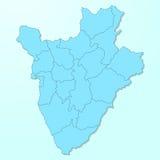 Burundi błękitna mapa na spodlonym tle Zdjęcie Stock