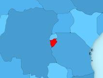 Burundi on 3D map Stock Images