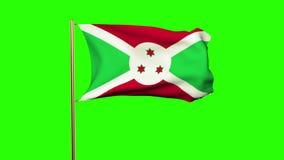 Burundi fahnenschwenkend im Wind Grüner Bildschirm vektor abbildung