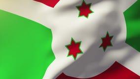 Burundi fahnenschwenkend im Wind Schleifungssonnenaufgänge lizenzfreie abbildung