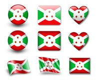 The Burundi flag. Set of icons and flags. glossy and matte on a white background Stock Photo