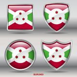 Burundi Flag in 4 shapes collection with clipping path stock images