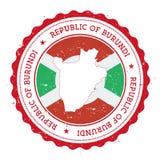 Burundi flaga w rocznik pieczątce i mapa Fotografia Royalty Free