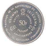 Burundi franka moneta Zdjęcie Stock