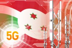 Burundi 5G przemys?owa ilustracja, ogromny kom?rkowy sie? maszt lub wierza na cyfrowym tle z flag?, - 3D ilustracja ilustracja wektor