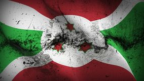 Burundi grunge dirty flag waving on wind. Burundian background fullscreen grease flag blowing on wind. Realistic filth fabric texture on windy day Stock Images