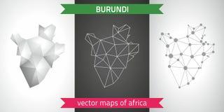 Burundi kolekcja wektorowego projekta map, szarej, czarnej i srebnej kropka konturu mozaiki 3d mapa nowożytna, Obrazy Stock