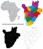Burundi map. Administrative division of the Republic of Burundi Royalty Free Stock Photography