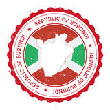 Burundi map and flag in vintage rubber stamp of. Royalty Free Stock Photography